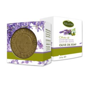 Lavendel såpe laget av olivenolje og lavendel urter