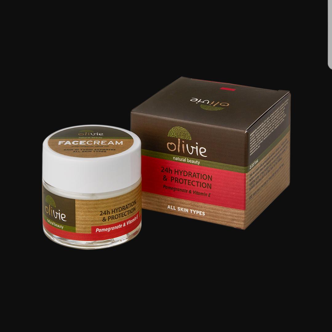 24 t ansikt krem med granateple og vitamin E