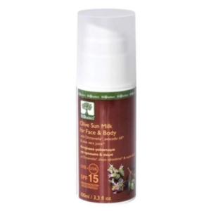 Bioselect oliven sun milk for ansikt og kropp SPF 15 UVA-UVB filter