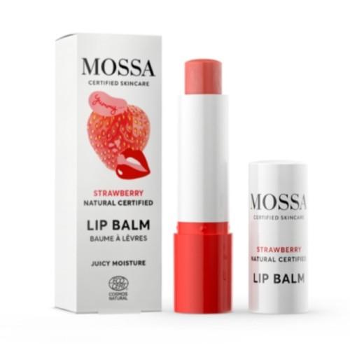 Mossa jordbær lips balsam FP10 100% naturlige ingredienser antioksidanter